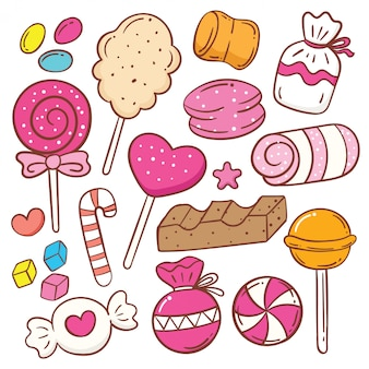 Cute sweets cartoon doodle set