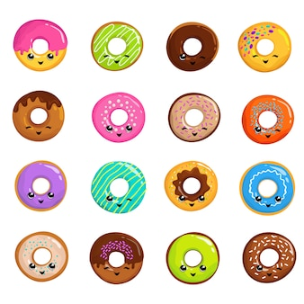 Cute sweets donuts in japanese kawaii style vector set