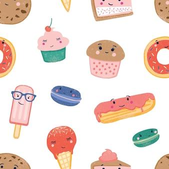 かわいいお菓子のシームレスなパターン。カラフルな背景のデザート。アイスクリームコーン、アイスキャンディー、カップケーキ、マカロン、エクレア、白い背景にカスタードとフロスティング。包装紙フラットベクトルデザイン。