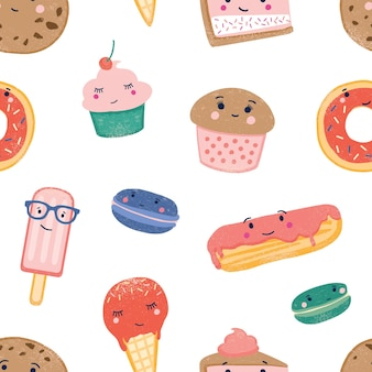Cute sweets seamless pattern. desserts colorful backdrop. ice cream cones, popsicles, cupcakes, macaroons and eclair with custard and frosting on white background. wrapping paper flat vector design.