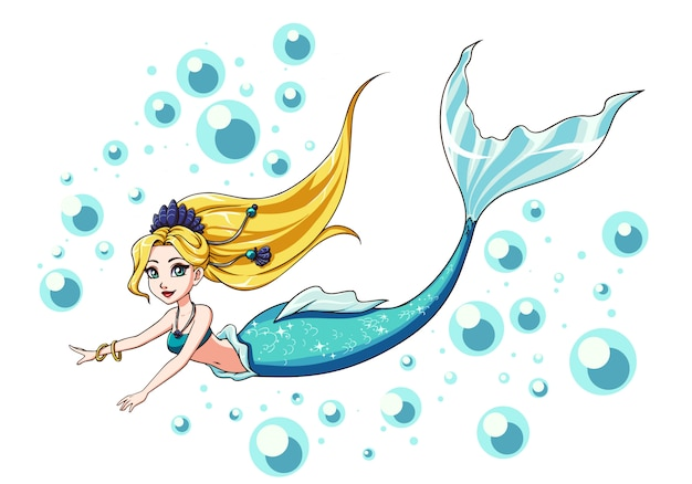 Cute swimming mermaid design. cartoon girl with blonde hair and blue fishtail. isolated on white background and bubbles.