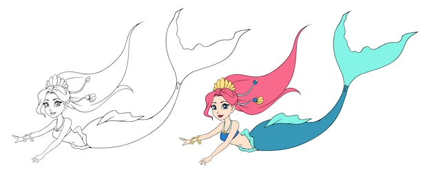 Cute swimming mermaid. hand drawn contour. can be used for children mobile games, coloring books, stickers, cards, tattoo, t-shirt design.
