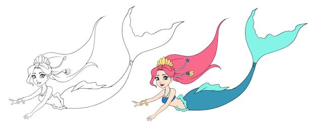 かわいい水泳人魚。手描きの輪郭。子供のモバイルゲーム、塗り絵、ステッカー、カード、タトゥー、tシャツのデザインに使用できます。