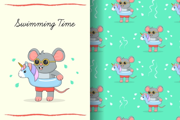 Cute swimming mouse with blue rubber unicorn seamless pattern and card