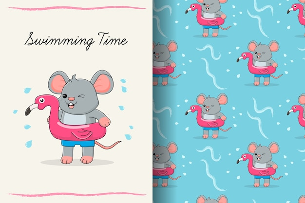 ピンクのゴムフラミンゴのシームレスなパターンとカードのかわいい水泳マウス