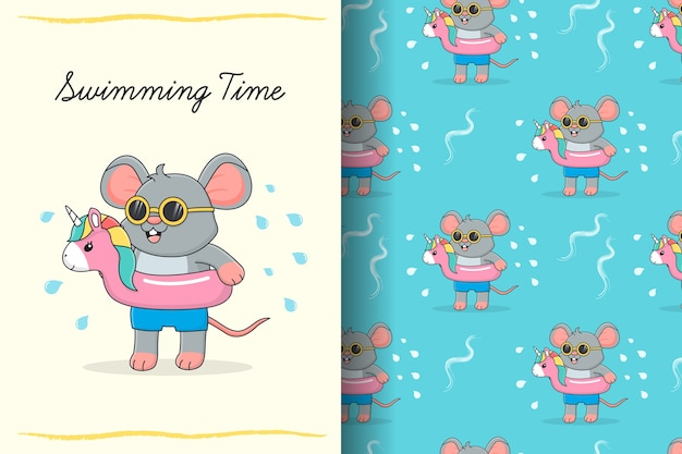 Cute swimming mouse with pink rubber flamingo seamless pattern and card
