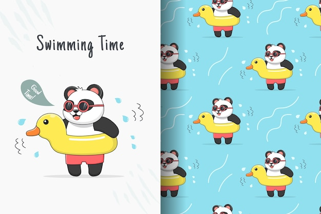 Cute swimming panda with yellow rubber duck seamless pattern and card