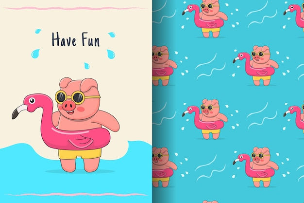 Cute swimming pig with flamingo rubber seamless pattern and illustration
