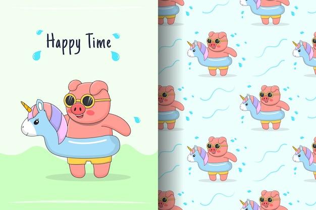 Симпатичная плавающая свинья с резиновым рисунком единорога и иллюстрацией