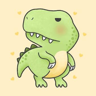 かわいいtレックス恐竜漫画手描きスタイル