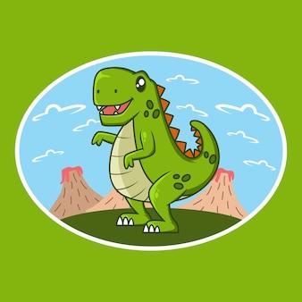 Симпатичный дизайн иллюстрации шаржа динозавра t-rex