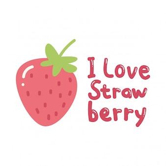 슬로건과 귀여운 딸기가있는 귀여운 티셔츠 디자인