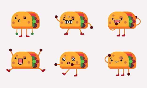 Cute taco character mascot illustration with different pose and facial expression