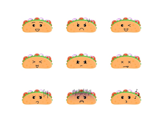 Cute taco illustration set with various expressions
