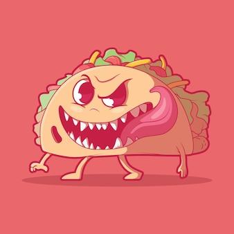 Забавный талисман cute taco monster food