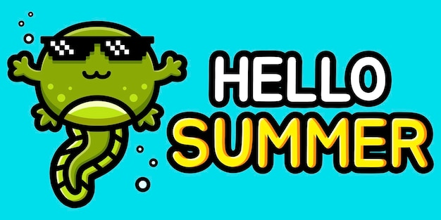 Cute tadpole with summer greeting banner