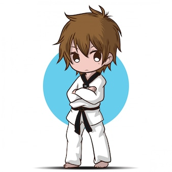 Cute takwando boy cartoon character.
