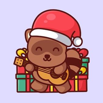 Cute tanuki wearing christmas hat