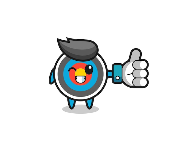 Cute target archery with social media thumbs up symbol , cute style design for t shirt, sticker, logo element