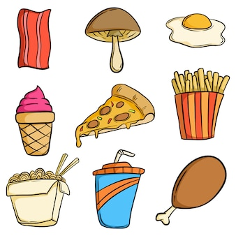 Cute tasty junk food collection with hand drawn or doodle style