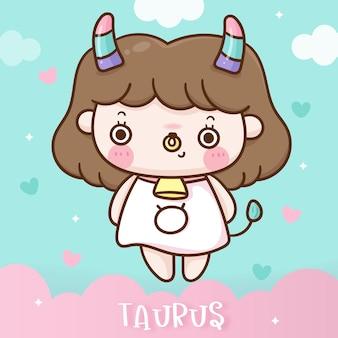 Cute tauras cartoon zodiac horoscope doodle style kawaii illustration