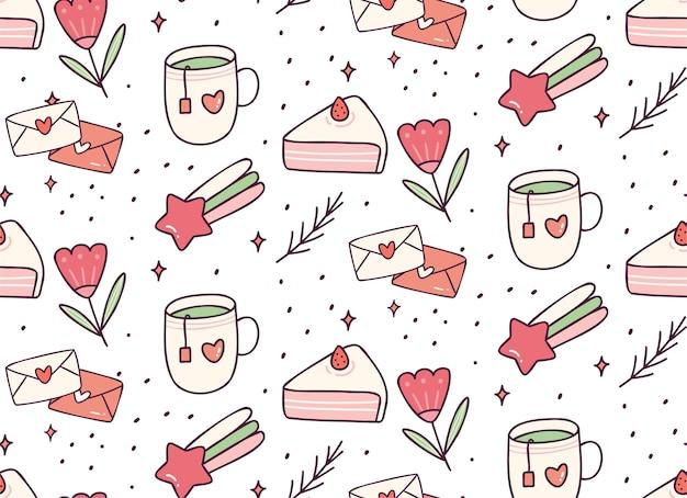 かわいいお茶とケーキの落書きのシームレスパターン