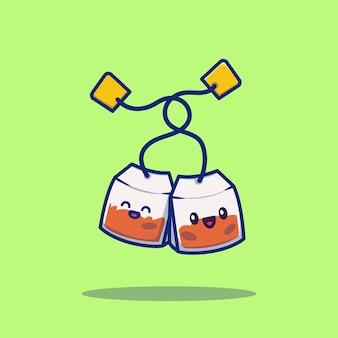 Симпатичные чайный пакетик мультфильм значок иллюстрации. чайный пакетик значок концепции изолированы. плоский мультяшный стиль
