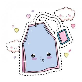Cute tea bag kawaii character
