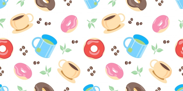 Cute tea and coffee seamless pattern with illustration