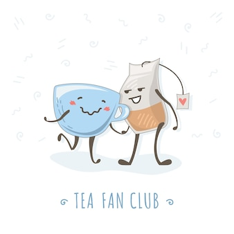 Cute tea and a cup walk and hold hands