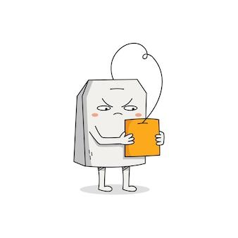 Симпатичный мультяшный персонаж из чайного пакетика