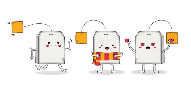 Симпатичный набор персонажей из мультфильма teabag: убегающий, в шарфе и влюбленный