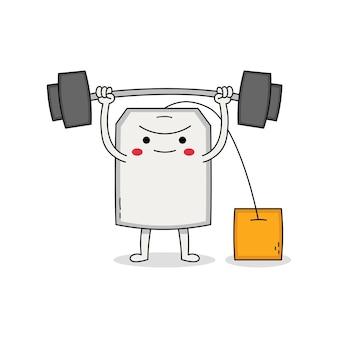 Милый пакетик мультипликационный персонаж поднятие тяжестей