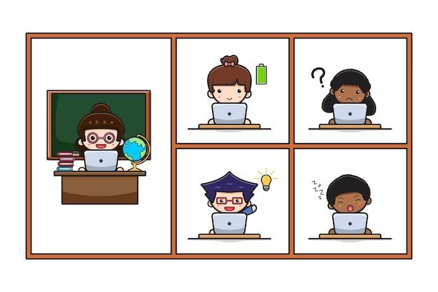 Симпатичный учитель и ученик делают домашнюю школу онлайн-курса обучения с иллюстрацией значка шаржа ноутбука. дизайн, изолированные на белом. плоский мультяшный стиль.