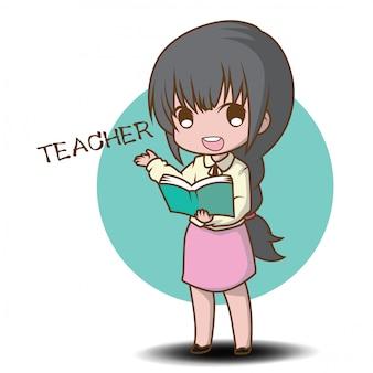 Cute teacher cartoon character style.