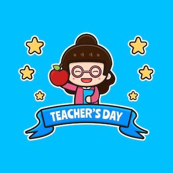 Cute teacher's day poster cartoon icon illustration. design isolated flat cartoon style