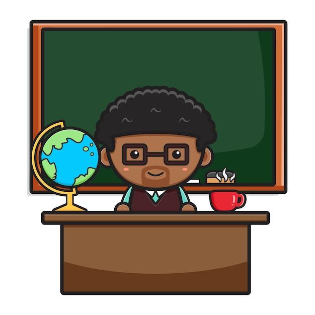 Cute teacher sitting in classroom with chalkboard cartoon icon illustration. design isolated on white. flat cartoon style.