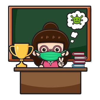 마스크 만화 아이콘 삽화를 입고 교실에 앉아 있는 귀여운 선생님. 흰색 절연 디자인입니다. 플랫 만화 스타일입니다.