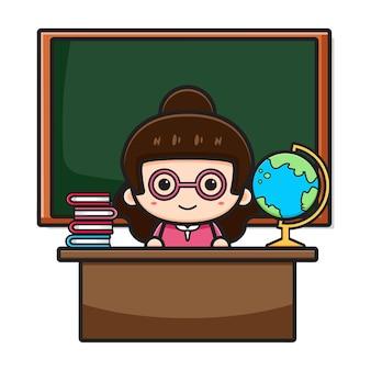 Милый учитель, сидя в классе с иллюстрацией значка шаржа классной доски. дизайн, изолированные на белом. плоский мультяшный стиль.