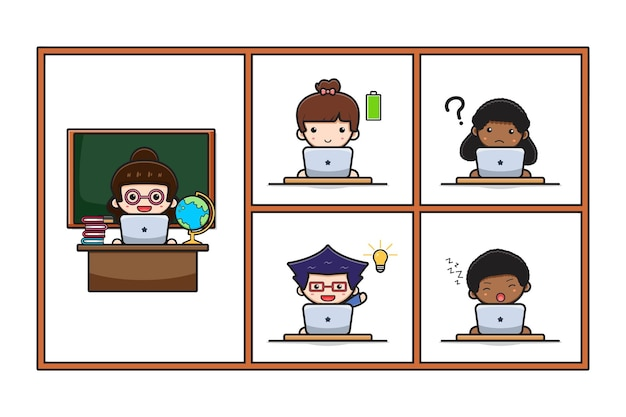 Cute teacher and student do online learning study course home school with laptop cartoon icon illustration. design isolated on white. flat cartoon style.
