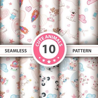 Cute teddy animals seamless pattern