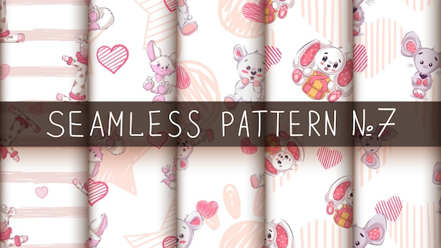 Cute teddy animals - seamless pattern