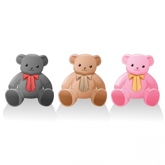 Cute teddy bear 3 colors vector