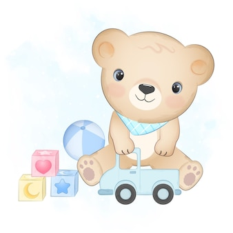 귀여운 테디 베어와 아기 장난감