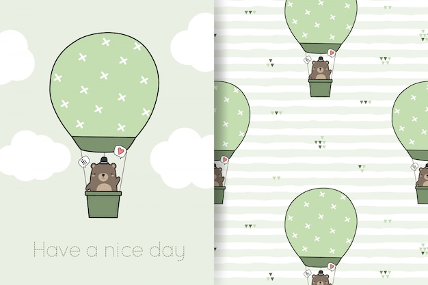 Cute teddy bear balloon cartoon doodle seamless pattern and greeting card