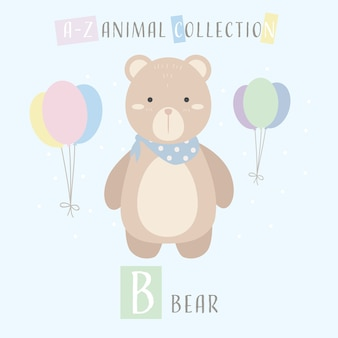Cute teddy bear cartoon doodle animal alphabet b
