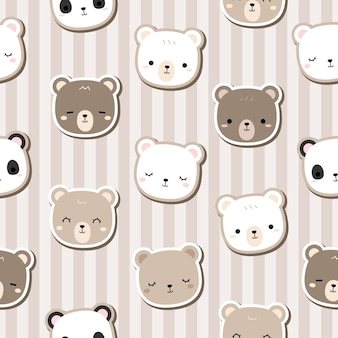 Cute teddy bear cartoon doodle seamless pattern stripe