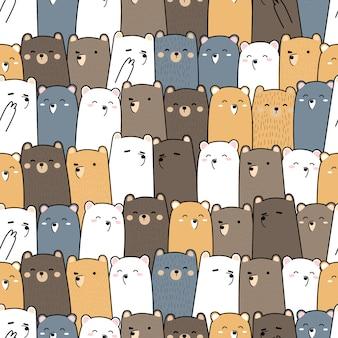 Cute teddy bear cartoon doodle seamless pattern