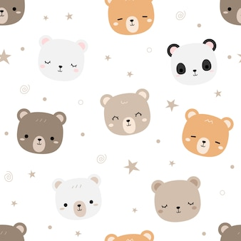 Cute teddy bear cartoon doodle seamless pattern
