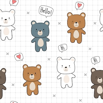 Cute teddy bear cartoon doodle with grid seamless pattern